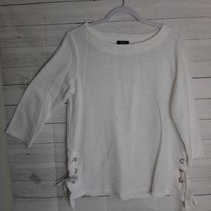 Jones New York Textured Sweatshirt with Tie Detail